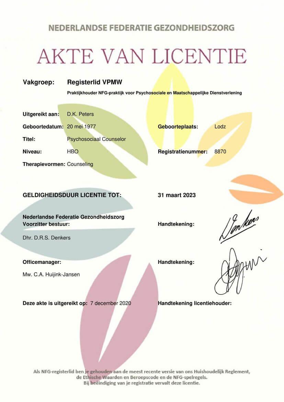 NFG Nederlandse Federatie gezondheidzorg Dagmara Peters akte van licentie 2021-1